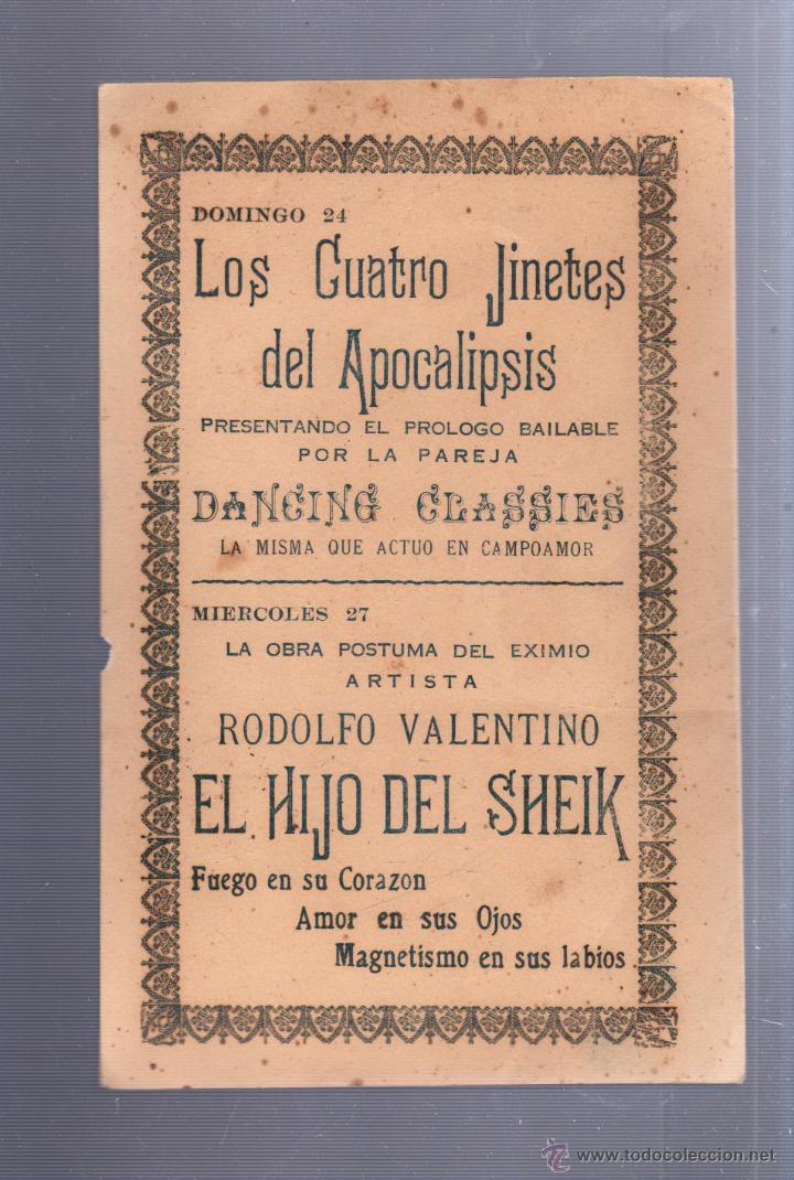 Cine: RODOLFO VALENTINO. PROXIMOS ESTRENOS. AÑOS 20. VER DORSO. - Foto 2 - 52341477