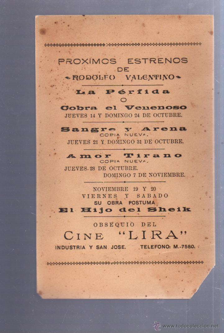 Cine: RODOLFO VALENTINO. PROXIMOS ESTRENOS. AÑOS 20. VER DORSO. - Foto 2 - 52341498