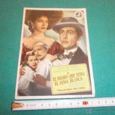 Cine: PROGRAMA DE CINE EL NEGRO QUE TENIA EL ALMA BLANCA AÑO 1951 TEATRO CALDERON VALLADOLID. Lote 52368309