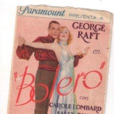BOLERO, GEORGE RAFT, CAROLE LOMBARD TARJETA PARAMOUNT