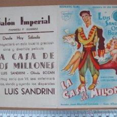 Cine: FOLLETO DE MANO -LA CASA DE LOS MILLONES - 1946. Lote 52444289
