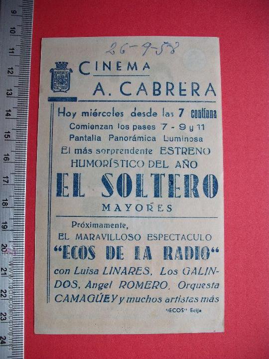 Cine: FOLLETO DE MANO - EL SOLTERO - 1958 - Foto 2 - 52454904