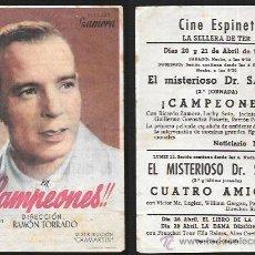 Folhetos de mão de filmes antigos de cinema: PROGRAMA DE CINE * ¡¡ CAMPEONES !! RICARDO ZAMORA - PUBLICIDAD CINE ESPINET (LA CELLERA-GIRONA ). Lote 52501456