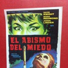 Cine: EL ABISMO DEL MIEDO FREDDIE FRANCIS MOIRA REDMOND - FOLLETO DE MANO ORIGINAL ESTRENO-FALBUN. Lote 84744526