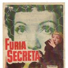 Flyers Publicitaires de films Anciens: FOLLETO MANO FURIA SECRETA. CON CLAUDETTE COLBERT Y ROBERT RYAN. AÑOS 50. Lote 52635618
