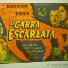 Cine: PROGRAMA LA GARRA ESCARLATA- BASIL RATHBONE- PUBLICIDAD PRINCIPAL.-FELANITX. Lote 52640170