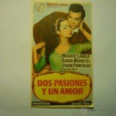 Flyers Publicitaires de films Anciens: PROGRAMA DOS PASIONES Y UN AMOR-MARIO LANZA -SARA MONTIEL-PUBLICIDAD. Lote 52653165