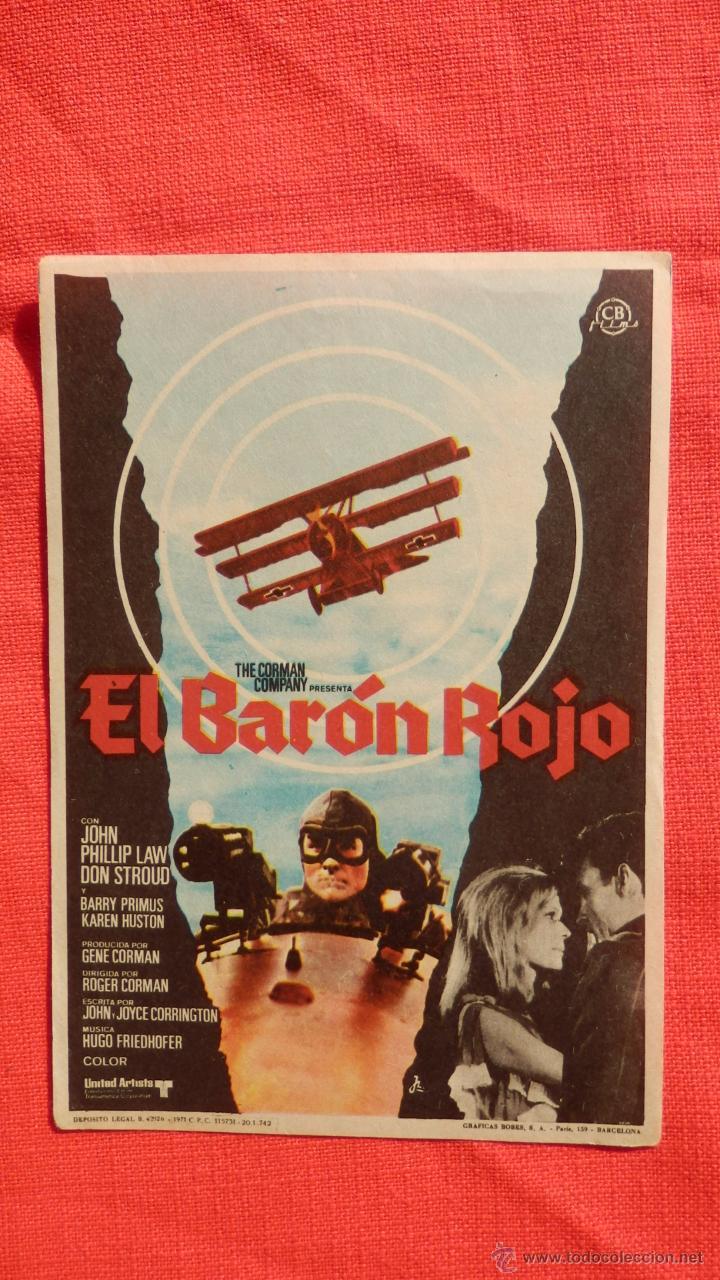 EL BARON ROJO, SENCILLO ORIGINAL,EXCTE. ESTADO, JOHN PHILLIP LAW DON STROUD, SIN PUBLICIDAD (Cine - Folletos de Mano - Bélicas)