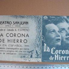 Cine: LA CORONA DE HIERRO - 1943. Lote 52701325