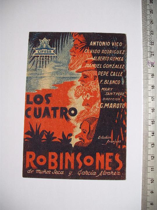 LOS CUATRO ROBINSONES -TEATRO LLORENS 1939 (Cine - Folletos de Mano - Comedia)