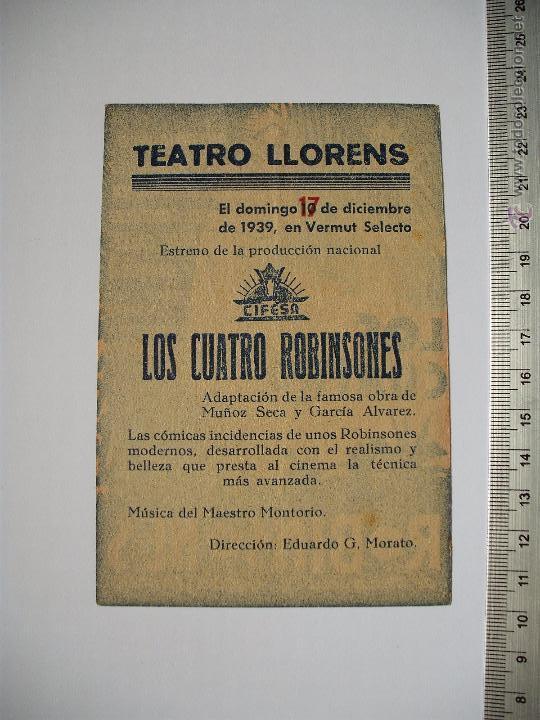 Cine: LOS CUATRO ROBINSONES -TEATRO LLORENS 1939 - Foto 2 - 52706531