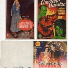 Cine: LOTE DE 3 PROGRAMAS DE CINE TEMA MUSICAL.. Lote 52726605