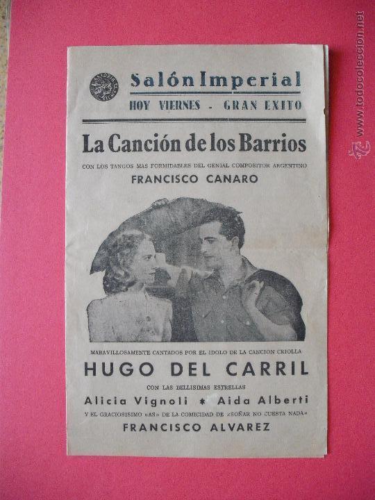 LA CANCION DE LOS BARRIOS - 1943 (Cine - Folletos de Mano - Comedia)
