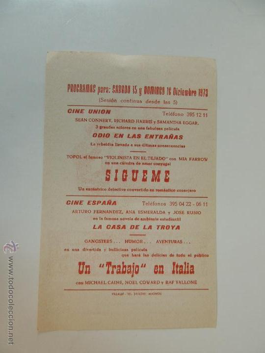Cine: un trabajo en italia - folleto mano local original michael caine noel coward benny hill quincy jones - Foto 2 - 289848138
