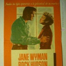 Cine: PROGRAMA SOLO EL CIELO LO SABE-ROCK HUDSON-PUBLICIDAD MODERNO TARRAGONA. Lote 52733382