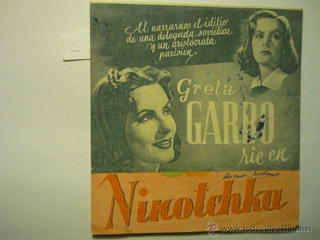 PROGRAMA DOBLE NINOTCHKA.-GRETA GARBO -PUBLICIDAD (Cine - Folletos de Mano - Comedia)