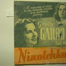 Cine: PROGRAMA DOBLE NINOTCHKA.-GRETA GARBO -PUBLICIDAD. Lote 52755284