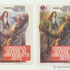 Cine: CONSIGNA: MATAR AL COMANDANTE JEFE. SENCILLOS DE DELTA FILMS. PAREJA VARIANTES DE COLOR.. Lote 52761109