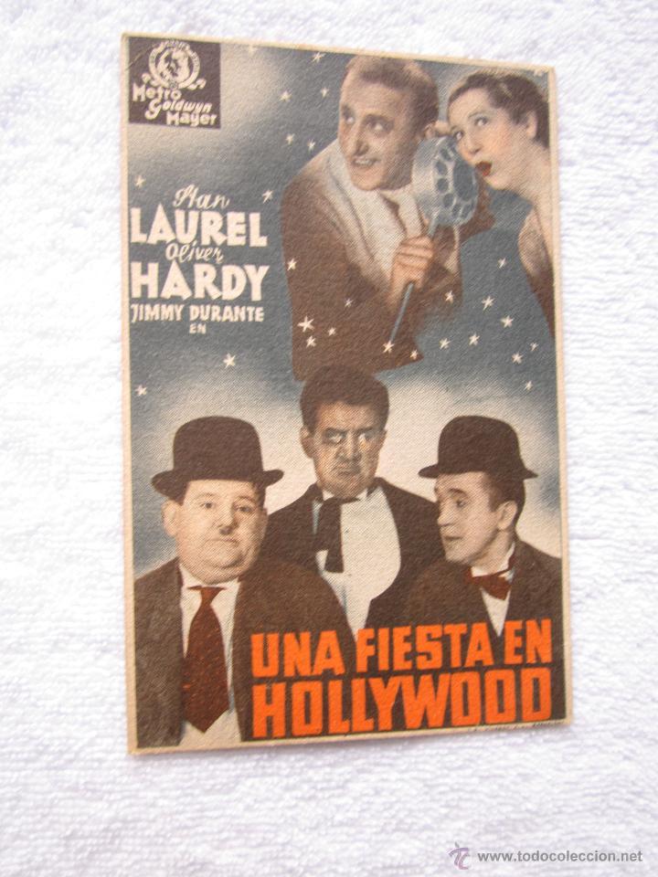 UNA FIESTA EN HOLLYWOOD LAUREL Y HARDY PROGRAMA CINE TARJETA (Cine - Folletos de Mano - Comedia)