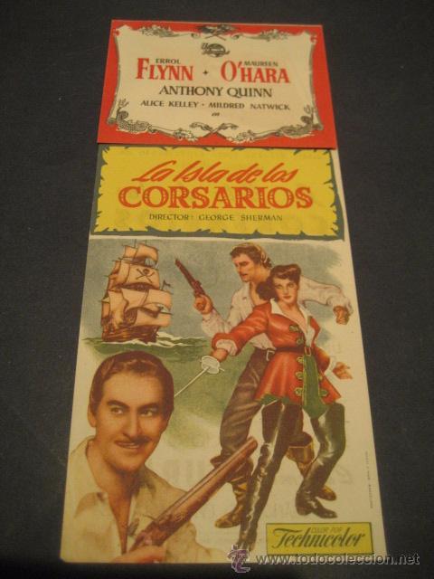 LA ISLA DE LOS CORSARIOS 1953 - ERROL FLYNN, ANTHONY QUINN - CINE DORADO - UNIVERSAL - TROQUELADO (Cine - Folletos de Mano - Aventura)