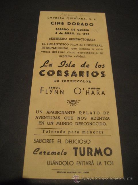 Cine: LA ISLA DE LOS CORSARIOS 1953 - ERROL FLYNN, ANTHONY QUINN - CINE DORADO - UNIVERSAL - TROQUELADO - Foto 2 - 52849865