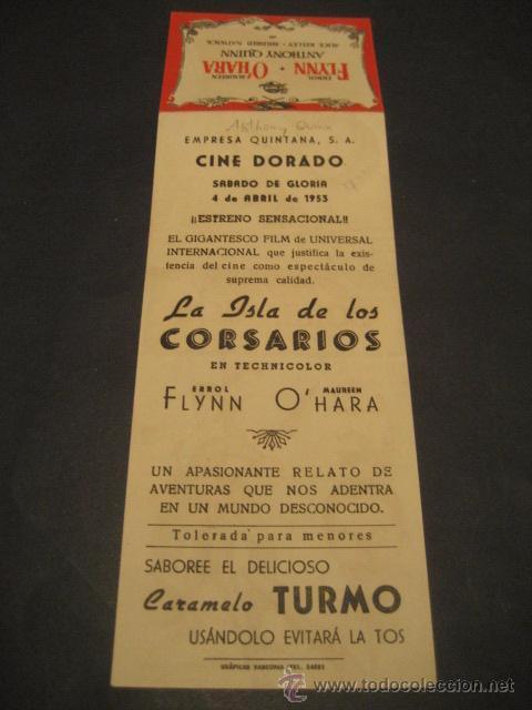 Cine: LA ISLA DE LOS CORSARIOS 1953 - ERROL FLYNN, ANTHONY QUINN - CINE DORADO - UNIVERSAL - TROQUELADO - Foto 4 - 52849865