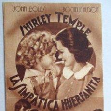 Cine: PROGRAMA DE CINE , TARJETA , FOX - LA SIMPÁTICA HUERFANITA - SHIRLEY TEMPLE , JOHN BOLES , HUDSON. Lote 52962047