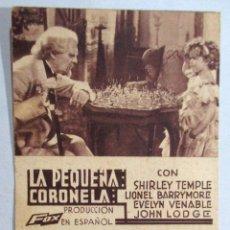 Cine: PROGRAMA DE CINE , TARJETA , FOX - LA PEQUEÑA CORONELA - SHIRLEY TEMPLE , LIONEL BARRYMORE , LODGE. Lote 52962519
