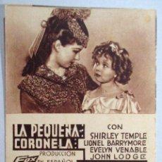 Cine: PROGRAMA DE CINE , TARJETA , FOX - LA PEQUEÑA CORONELA - SHIRLEY TEMPLE , LIONEL BARRYMORE , LODGE. Lote 52962534