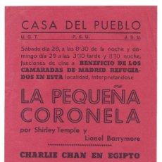 Cine: ANTIGUO CARTEL CINE LA PEQUEÑA CORONELA. CHARLIE CHAN. CASA DEL PUEBLO. GUERRA CIVIL. Lote 53025847