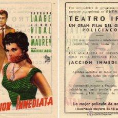 Cine: FOLLETO DE MANO ACCION INMEDIATA . TEATRO IRIS ZARAGOZA. Lote 53057690