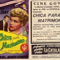 Cine: FOLLETO DE MANO CHICA PARA MATRIMONIO . CINE GOYA ZARAGOZA. Lote 132566415