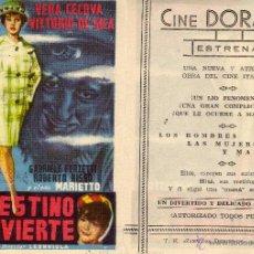 Cine: FOLLETO DE MANO EL DESTINO SE DIVIERTE. CINE DORADO ZARAGOZA. Lote 56904426
