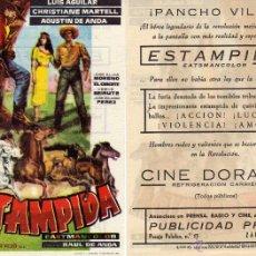 Cine: FOLLETO DE MANO ESTAMPIDA. CINE DORADO ZARAGOZA. Lote 58278536