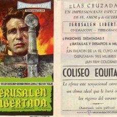 Cine: FOLLETO DE MANO JERUSALEN LIBERADA . COLISEO EQUITATIVA ZARAGOZA. Lote 120973570