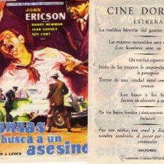Cine: FOLLETO DE MANO KANSAS BUSCA UN ASESINO. CINE DORADO ZARAGOZA. Lote 131459607