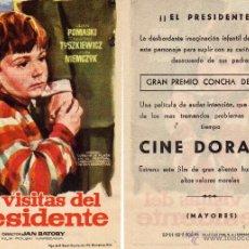 Cine: FOLLETO DE MANO LAS VISITAS DEL PRESIDENTE. CINE DORADO ZARAGOZA. Lote 107421495