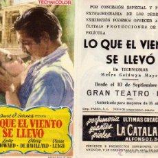 Cine: FOLLETO DE MANO LO QUE EL VIENTO SE LLEVO . TEATRO IRIS ZARAGOZA. Lote 266193498