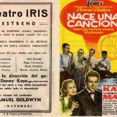 Cine: FOLLETO DE MANO NACE UNA CANCION . TEATRO IRIS ZARAGOZA. Lote 88457640