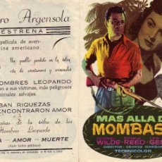 Cine: FOLLETO DE MANO MAS ALLA DE MOMBASA . TEATRO ARGENSOLA ZARAGOZA. Lote 53061097