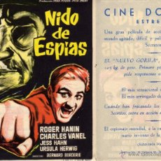 Cine: FOLLETO DE MANO NIDO DE ESPIAS. CINE DORADO ZARAGOZA. Lote 53061156