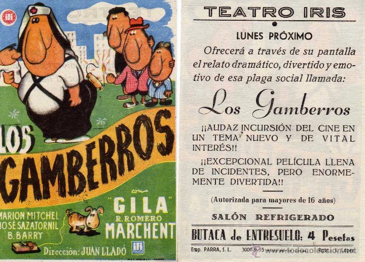 FOLLETO DE MANO LOS GAMBERROS . TEATRO IRIS ZARAGOZA (Cine - Folletos de Mano - Comedia)