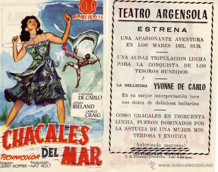 FOLLETO DE MANO CHACALES DEL MAR .TEATRO ARGENSOLA ZARAGOZA (Cine - Folletos de Mano - Aventura)