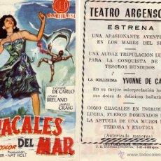 Cine: FOLLETO DE MANO CHACALES DEL MAR .TEATRO ARGENSOLA ZARAGOZA. Lote 53115722