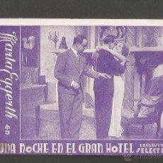 Cine: UNA NOCHE EN EL GRAN HOTEL -EXCLUSIVAS SELEC FILM - PRINCIPAL MODERN -TARJETA CARTON - (C-2351). Lote 53121024