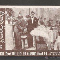 Cine: UNA NOCHE EN EL GRAN HOTEL -EXCLUSIVAS SELEC FILM - PRINCIPAL MODERN -TARJETA CARTON - (C-2352). Lote 53121031