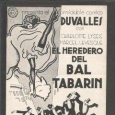 Cine: EL HEREDERO DEL BAL TABARIN - DOBLE - CINEMA DEL ATENEU LLIBERTARI - (C-2358). Lote 53121529