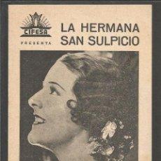 Cine: LA HERMANA SAN SULPICIO - DOBLE - IMPERIO ARGENTINA- CINE CERVANTES SALON IMPERIAL - (C-2375). Lote 53122366