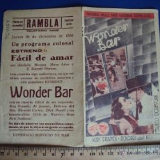 Cine: (PG-1264)PROGRAMA DE CINE,WONDER BAR,DOBLE. Lote 53192600