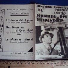 Cine: (PG-1224)PROGRAMA DE CINE,EL HOMBRE DEL HISPANO,DOBLE. Lote 53192877
